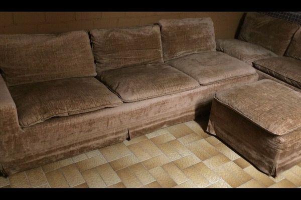 braune Sofa Coach Garnitur Samt