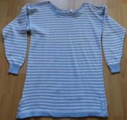 Long-Pullover Kurzkleidchen hellblau-weiß-gestreift Gr 36-40