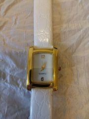Damen Quartz-Uhr mit weißem Armband