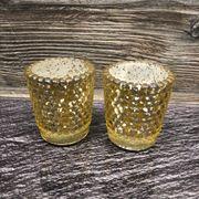 Teelichtgläser in Gold bauernsilber Optik