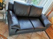 2 Dickleder-Sofas nachtblau bayrische Qualität