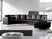 Sofa Leder schwarz rund ROTUNDE