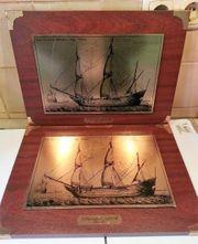 Zwei Kupferstiche mit holländischem Segelschiff