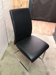 6 Stühle Freischwinger schwarzes Kunstleder