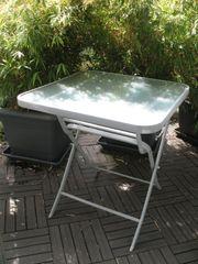 Gartentisch klappbar Balkontisch Glas Alu