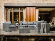 Lounge Set Rattan hellgrau 6-Sitzer