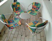 Balkongarnitur Tisch und 4 Stühle