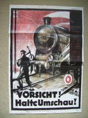 Eisenbahn altes Warnplakat Vorsicht halte