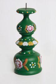 Alter Kerzenständer Holz-gedrechselt- handbemalt-Bauernmalerei grün