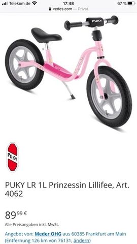 Pucky Laufrad Lillifee: Kleinanzeigen aus Dettenheim - Rubrik Kinderfahrzeuge