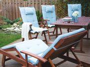 Gartenstuhl Holz mit Auflage hellblau