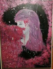 Acrylmalerei Frau auf Leinwand rosa