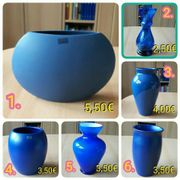 Vasen blau orange Keramik Glas