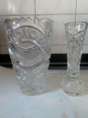 2tlg Set Bleikristall Kristall Vase