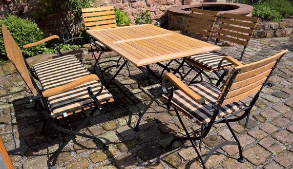 Garten Sitzgruppe Mainau Teak Eisen Tisch 2 Sitz Bank 2