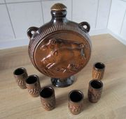 Likörset 6-tlg aus Keramik braun