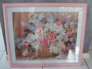 Bild Blumenkorb rose rosa Glasrahmen