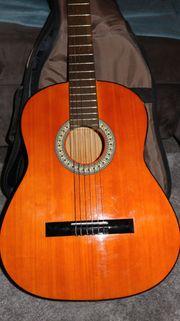 Gitarre inkl Polstertasche in grau -