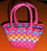 Kindertasche geflochten pink zwei Henkel