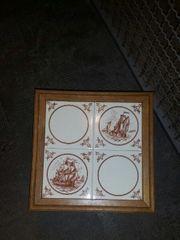 Antik TISCH Mit Segelschiff Muster