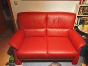 Rotes Ledersofa Zweisitzer zu verkaufen