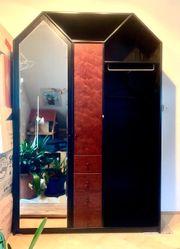 Garderobenschrank Massivholz nußbraun schwarz Schubladen