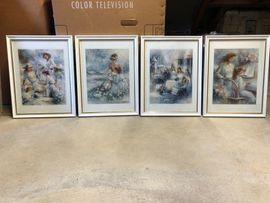 4 Bilder /Gemälde mit Darstellung von Frauen in Rahmen zu verkaufen