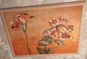 Großes Bild Blumen mit Holzrahmen