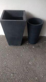 2 Pflanztöpfe Kunststoff dunkelgrau graphit