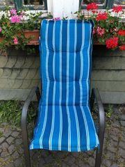 8 Stuhlauflagen blau weiss inkl