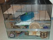 Hamster- Kleintierkäfig mit Glasuntersatz und