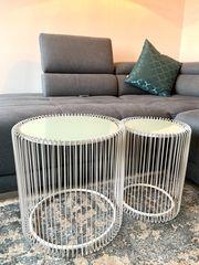 Couchtisch Beistelltisch Metall 2er-Set Wire