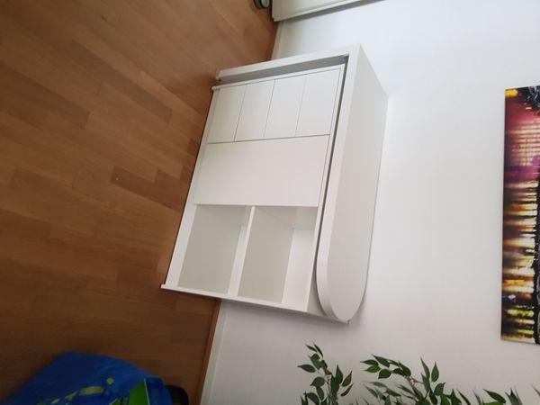 Platzsparender Schreibtisch in Weiß Hochglanz