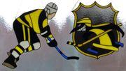 Fensterbild Handarbeit aus Glas Eishockeyspieler