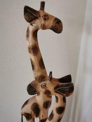 WIE NEU Holzfiguren Giraffen groß