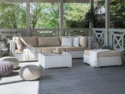 Lounge Set Rattan weiß 4-Sitzer
