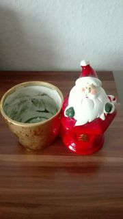 Nikolaus Figur mit Übertopf Weihnachtsmann