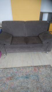 Sofa 2-Sitzer und Sessel braun