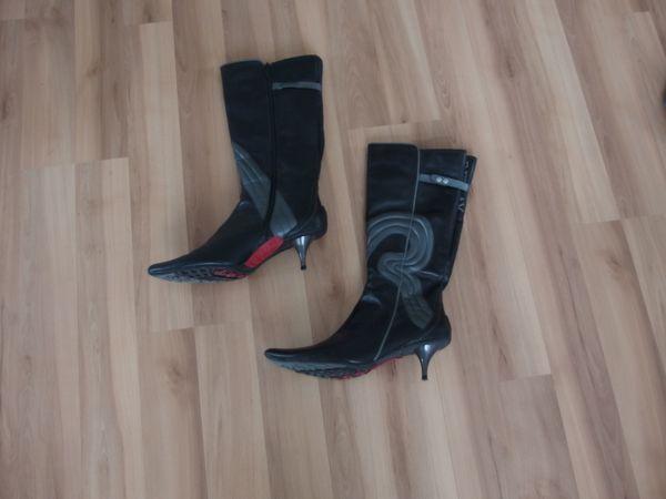Neuwertige Replay Damen Stiefel in schwarzen Leder Größe 40