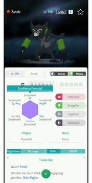 Pokemon Zarude 6DV Schwert Schild