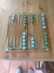 Kleines Backgammon Spiel aus Glas