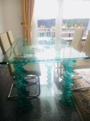 Designer Glas Esstisch in sehr