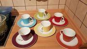 Bunte Kaffeetassen Kuchenteller für 6Personen