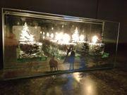 Winter Teelichthalter Glas mit Winterlandschaft