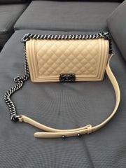 Chanel Boy Bag Beige Caviar