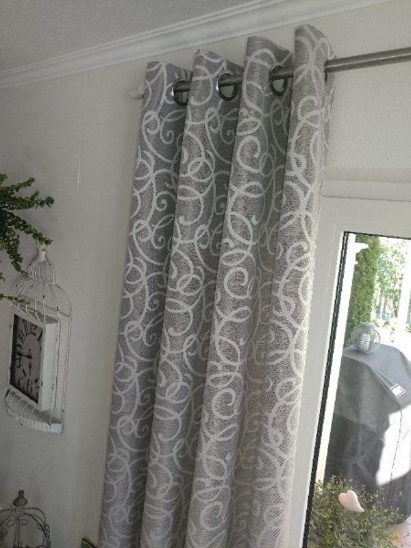 Ösenvorhang Vorhang Farbe Grau Weiß