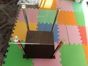 Beistelltisch Tisch Glastisch mit Rädern
