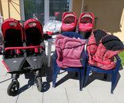 Tfk Zwillingskinderwagen Komplettpaket in Cranberry