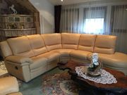 Sofa dunkelbeige hochlehner Leder