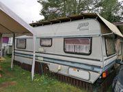 Dauercamping Wohnwagen mit Vorzelt